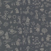 Moomin Black Novelty Wallpaper