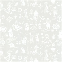 Moomin Light Grey Novelty Wallpaper