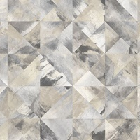 Mosaic Wallpaper in Beige, Black & Greys