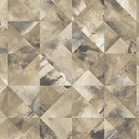 Mosaic Wallpaper in Ochre, Brown & Greys