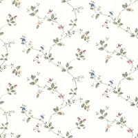 Olivia White Floral Trail Wallpaper