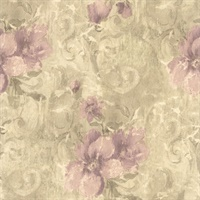 Pergoda Purple Floral Texture Wallpaper