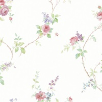In-Register White Wedding Trail Wallpaper