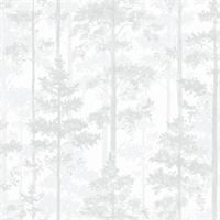 Pine Off-White Silhouette Trees Wallpaper