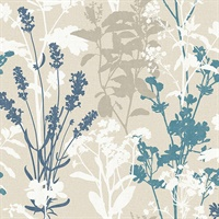 Pippin Blue Wild Flowers Wallpaper