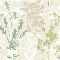 Pippin Green Wild Flowers Wallpaper