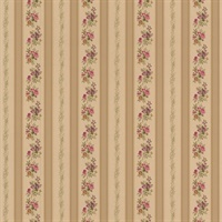 Princess Gold Floral Stripe Wallpaper