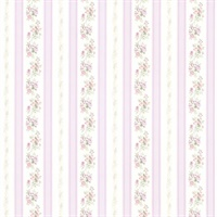 Princess Lavender Floral Stripe Wallpaper