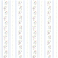 Princess Light Blue Floral Stripe Wallpaper