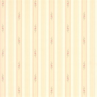 Rosette Beige Rosebud Stripe Wallpaper