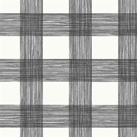 Scarborough Black Striated Plaid Wallpaper
