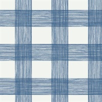 Scarborough Indigo Striated Plaid Wallpaper