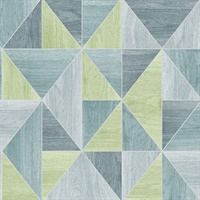 Simpson Blue Geometric Wood Wallpaper