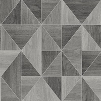Simpson Grey Geometric Wood Wallpaper