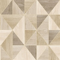 Simpson Light Brown Geometric Wood Wallpaper
