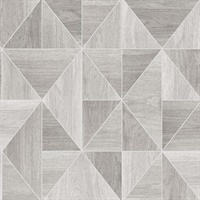 Simpson Light Grey Geometric Wood Wallpaper