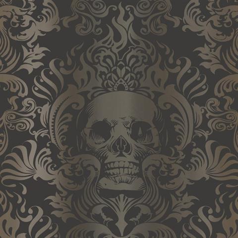Tot47111 Silver Gold And Black Skull Damask Wallpaper Wallpaperupdate Com
