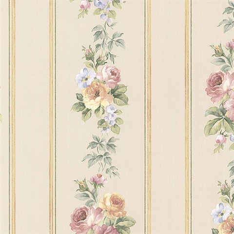 Small Rose Stripe Wallpaper