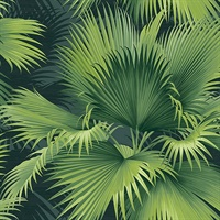 Summer Palm Dark Green Tropical Wallpaper