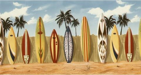Surf Boards Wallpaper Border 144b07141 Destinations By The Shore Wall Border