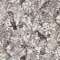 Susila Grey Tropical Wallpaper
