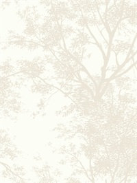 Ashford House Tree Silhouette Sidewall Wallpaper - Pearl