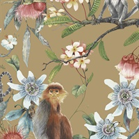 Tropical Floral with Monkeys