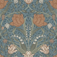 Tulipa Blue Floral Wallpaper