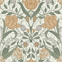 Tulipa Green Floral Wallpaper