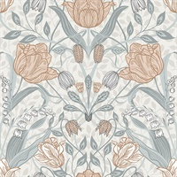 Tulipa Off-White Floral Wallpaper