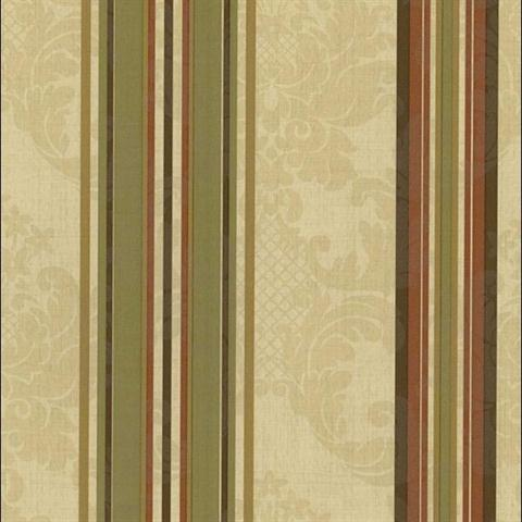 Rl20605 Beige Green And Red Tuscan Gold Multi Striped Damask Wallpaper Wallpaperupdate Com