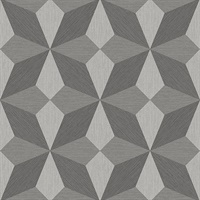 Valiant Grey Faux Grasscloth Geometric Wallpaper
