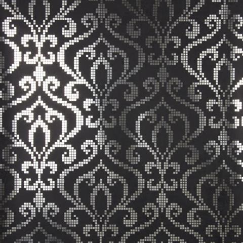 Venus Charcoal Foil Mini Damask