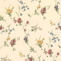 Yelena White Midscale Floral Wallpaper